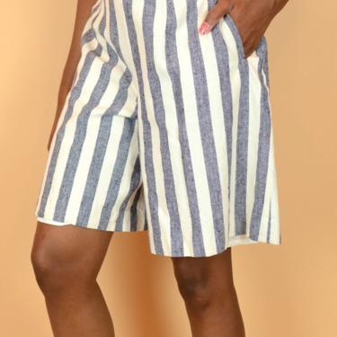 Vintage Silk Blend Striped High Waist Wide Leg Baggy Shorts by MAWSUPPLY
