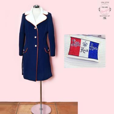 Lilli Ann Vintage Coat Blue, Red White & Blue, 1960's Designer Jacket, Size Medium Mid Century Clothing, Day Dress Coat, Knit Overcoat by Boutique369