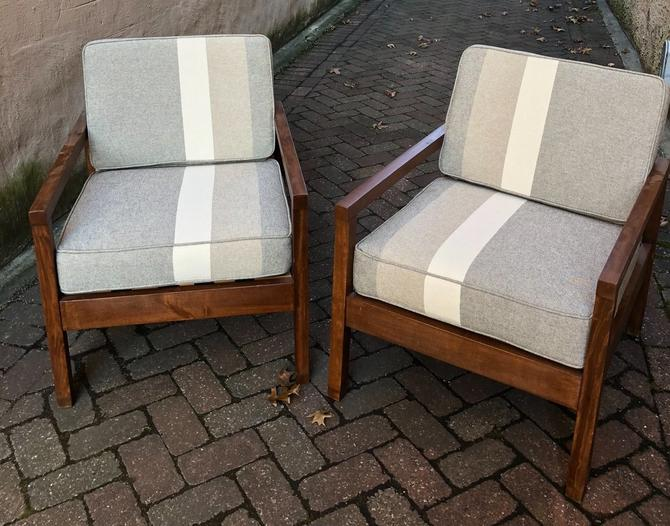 Striped Pair of Armchairs
