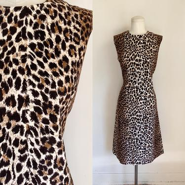 Vintage 1960s Leopard Print Corduroy Dress / M by MsTips