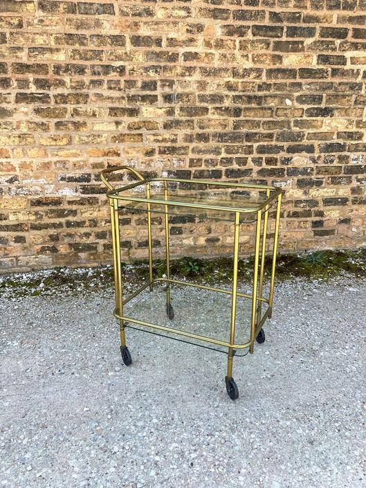Vintage Brass and Glass Serving/Bar Cart