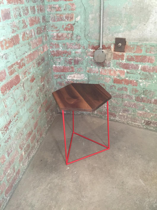 Modern Hexagonal Side Table with Solid Walnut Top and Triangle Steel Base by PWHFurniture