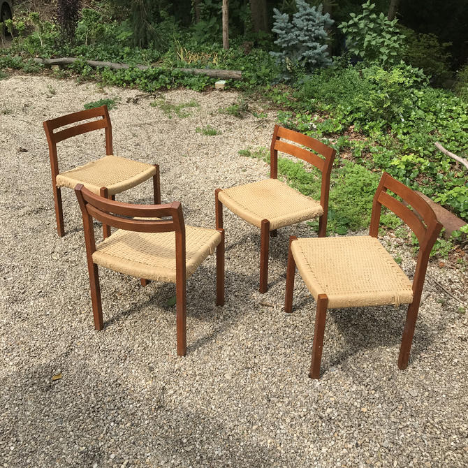 Outstanding Four Set Niels Otto Moller Teak Dining Chairs Danish Vintage Mid Century Modern C 1969 Denmark Woven Cord Rope Rush By Brainwashington Bralicious Painted Fabric Chair Ideas Braliciousco