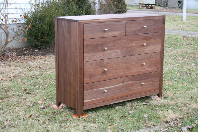 """X5410a Hardwood Cabinet with 5 Inset Drawers, Corner Posts, 40"""" wide x 20"""" deep x 40"""" tall - natural color by SolidCherryHeirlooms"""