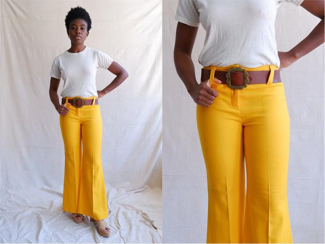 Vintage 70s Yellow Hip Hugger Bell Bottoms/ 1970s Low Rise Flare Pants/Bobbie Brooks/ Size Small by bottleofbread