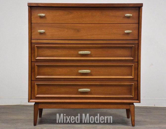 Walnut and Brass Mid Century Tall Dresser by mixedmodern1