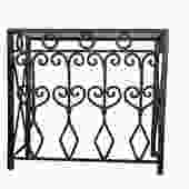 Hand Forged vintage iron console with glass top.
