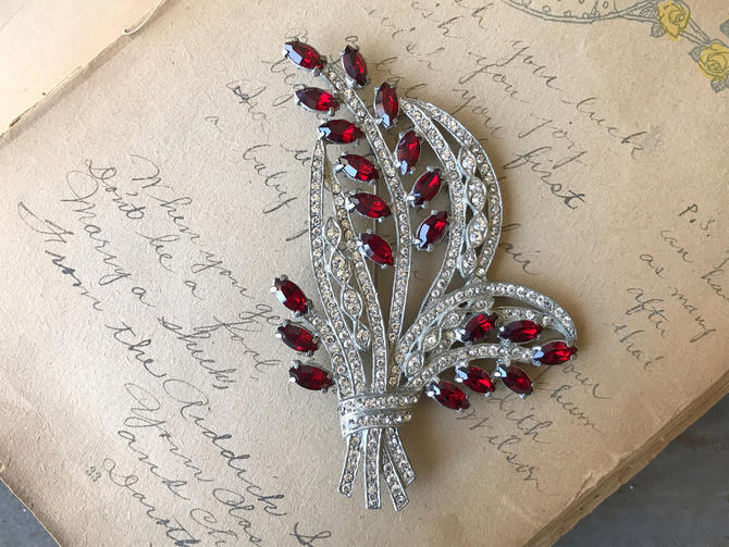 Vintage Art Deco Revival Rhinestone & Red Marquise Bouquet Brooch by circlethesquare
