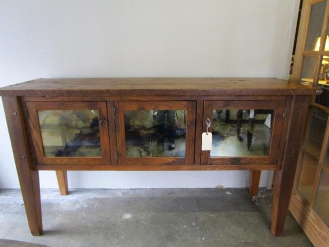 VERY LARGE RUSTIC SIDEBOARD/CREDENZA WITH ANTIQUED MIRROR INSETS