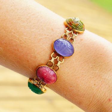"Vintage 14KT Gold Filled Multi-Stone Scarab Bracelet, Double Link Carved Gemstone Bracelet, 7 Scarab Beads, Security Chain, 6 1/2"" L by shopGoodsVintage"