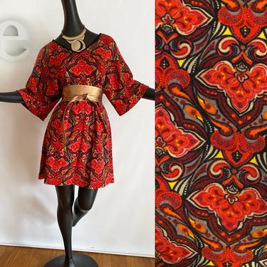Groovy Kimono Sleeve Mini Dress • Hippie Boho • Vintage Y2K does 1970s • Moroccan •  Asian •Tiki • Paisley Print • Red Orange Earth Tones by elliemayhems