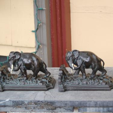 1925 Pair of Art Deco Ronson Art Metal Works Elephant Bookends No. 8173 ~ Royal Bronze 1920's Elephant Bookends Ronson Art Metal Works by YesterdayAndTomorrow