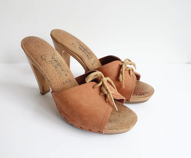 c80034e670 Vintage 70s Leather Lace Up Heels/ Wooden Heel Sandals/ Brown 1970s ...