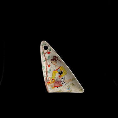 "Vintage Mid Century Modern Italian Pottery Ceramic LARGE Tray Platter with Girl Picking Fruit Fratelli Fanciullacci 1960s Italy 15.25"" by SwankyChaperooo"