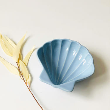 Vintage Ceramic Blue Shell Tray by SergeantSailor