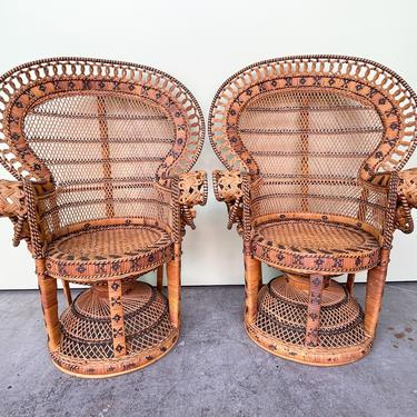 Pair of Island Chic Child Rattan Fan Chairs