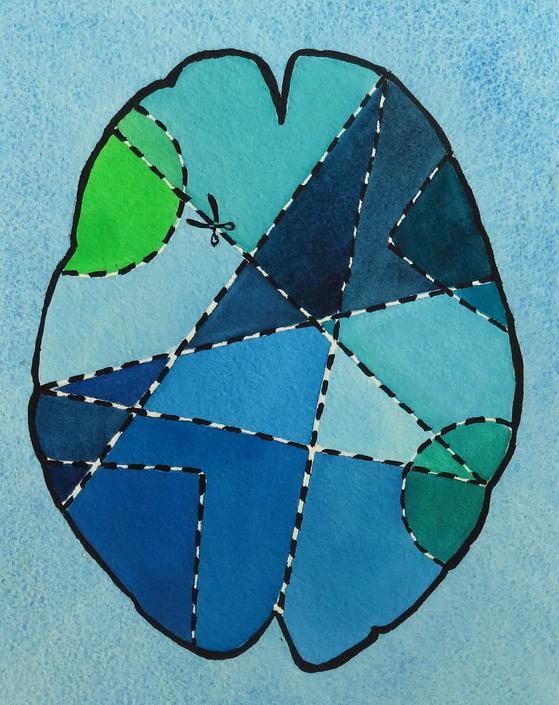 Brain Surgery for Beginners 5 -  original watercolor painting - neuroscience art by artologica