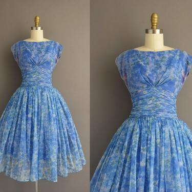 1950s vintage dress | Gorgeous Blue Floral Print Sweeping Full Skirt Cocktail Party Dress | Small | 50s dress by simplicityisbliss