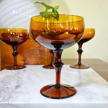 6 Vintage Amber Glass Champagne Coupes, Cocktail or Wine Glasses, Pedestal Dessert Cups - Thanksgiving Fall Autumn Holiday Tableware by VenerablePastiche