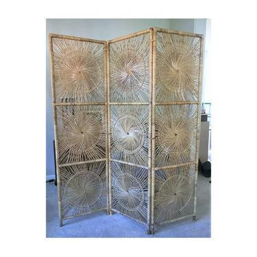 Vintage Rattan Sunburst Screen   Boho Wicker Room Divider   MCM Bamboo Privacy Partition Collapsible by SavageCactusCo