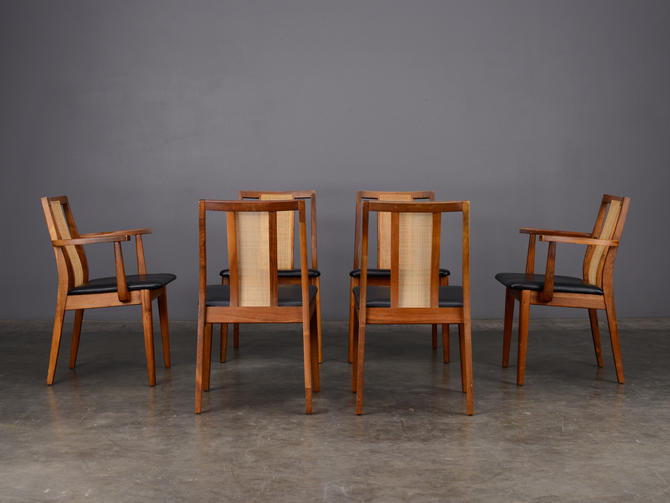 6 Mid Century Dining Chairs Walnut and Cane Hibriten by MadsenModern