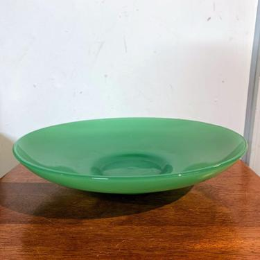 Vintage Jade Glass Console Bowl Center Piece by OverTheYearsFinds