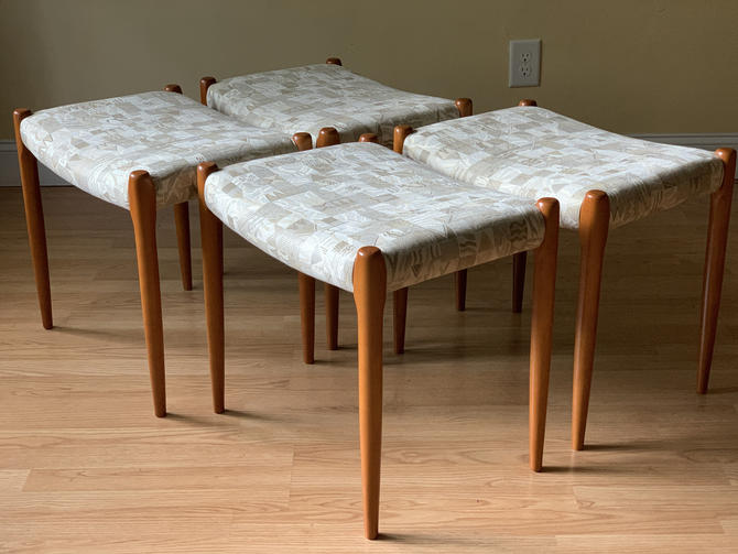 FOUR Stool/Ottoman Model 80a by Niels Otto Møller for J.L. Moller, set of four by ASISisNOTgoodENOUGH