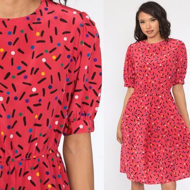 Puff Sleeve Dress 80s Confetti Print Polka Dot Dress Pink Midi Secretary Dress High Waisted 1980s Vintage Knee Length Slouchy Small S by ShopExile
