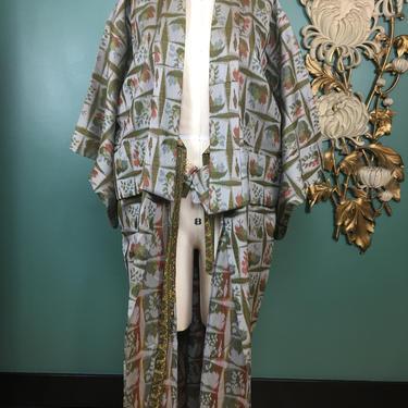 vintage kimono, 1960s kimono, novelty print robe, fruit print kimono, Japanese robe, green and gray, one size, vintage dressing gown, boho by melsvanity