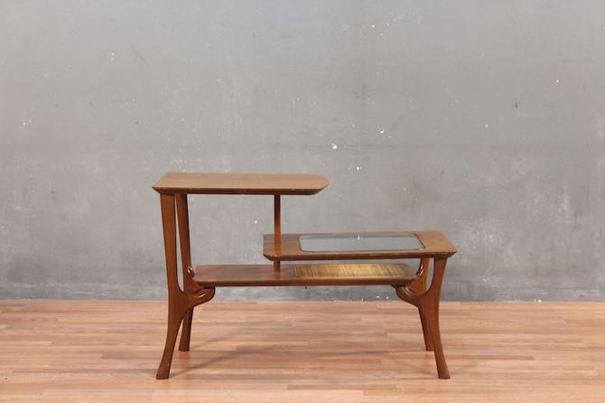 James-Philip Mid Century Tiered Walnut & Glass End Table – ONLINE ONLY