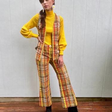 Vinage 60s Plaid Bell bottom Hippie Cotton High waist Vest Trousers Pants set suit S M by prismavintageatx