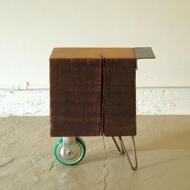 CUSTOM RESERVE for Robert - reclaimed wood coffee table - wheel koan - modern industrial - functional proun - mobile serviceable art by birdloft