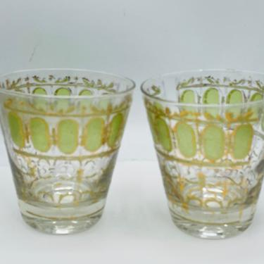 Vintage Culver Glass  Olive green scroll GOLD Whiskey set 2 culver gate trellis water vintage - 22K Gold encrusted High ball Tumblers by JoAnntiques