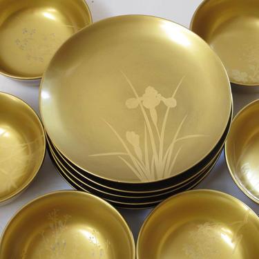 Gold Lacquerware Bowls Japanese Miso Bowls Plates Set Made in Japan  Gold Lacquer Small Bowl Small Plate Asian Kitchen Wabi Sabi Bowl Set by akaATA