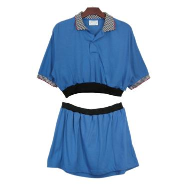 2pc Blue Check Trim Polo Set