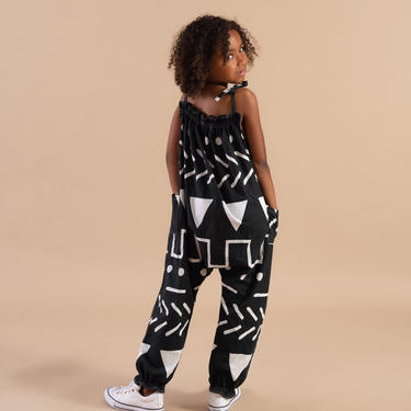 BLACK  ABSTRACT TERZA JUMPSUIT -