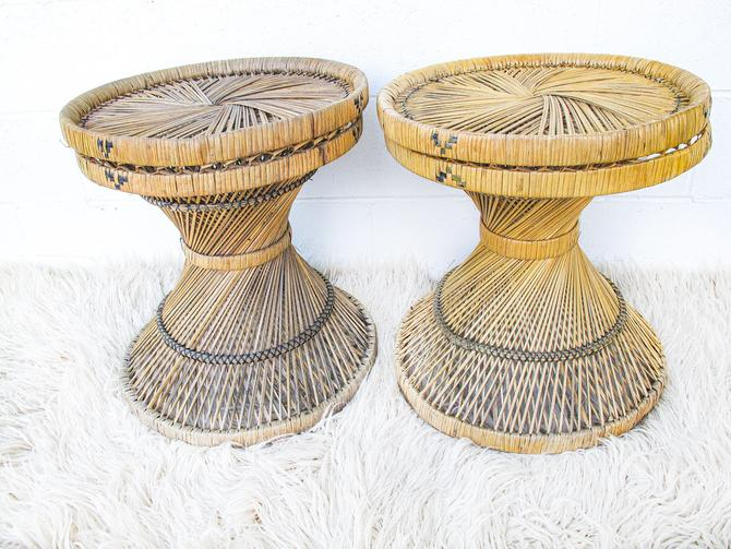Vintage Woven Rattan and Bamboo Side Tables / Stools (SOLD SEPARATELY) by PortlandRevibe