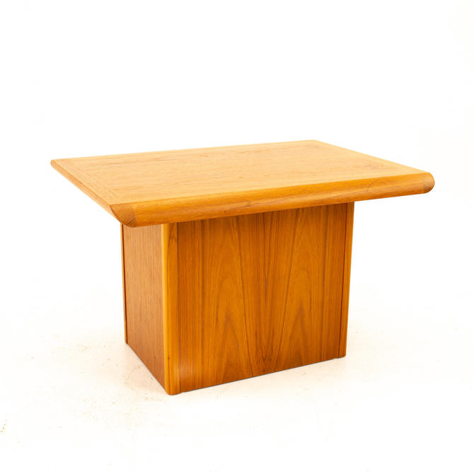 Danish Teak Mid Century Pedestal Base Side End Table - mcm by ModernHill