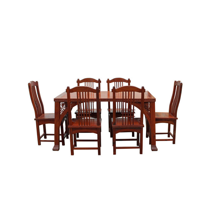 Chinese Yellowish Brown Rosewood Rectangular Dining Table Set 6 Chairs cs4887E by GoldenLotusAntiques