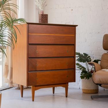 Sleek Walnut Highboy Dresser
