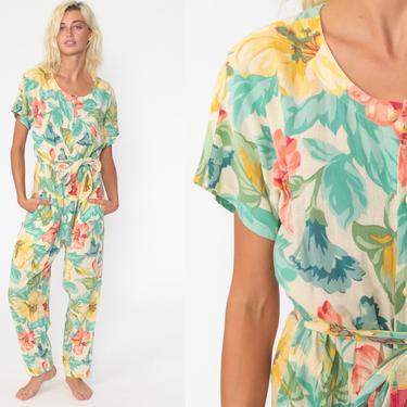 Floral Jumpsuit 90s Liz Claiborne Button Up Summer Pantsuit Pants Jumpsuit Vintage Romper 90s High Waisted Baggy Cotton Medium by ShopExile