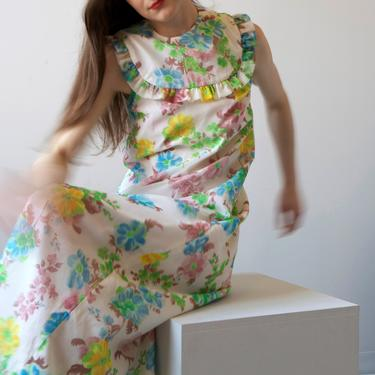 1970 floral chiffon maxi dress / sz XS by EELT
