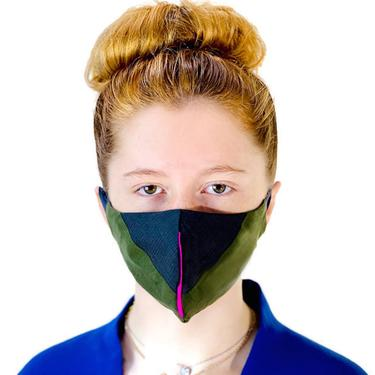 face mask olive/gray wool suiting