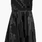 A.L.C. - Black Leather Strapless Fit & Flare Dress w/ Laser Cut Design Sz 4
