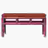 Oriental Zen Ming Style Wood Distressed Red Brown Stain Bench cs5175S