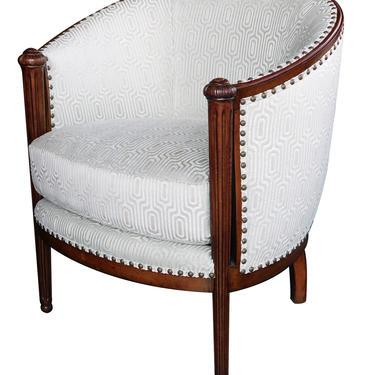 Stylish French Art Deco Barrel-back Chair