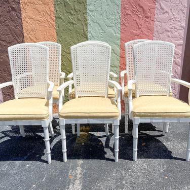 Set of Six Faux Bamboo and Cane Arm Chairs