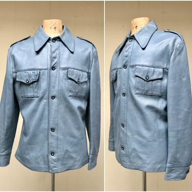 Vintage 1970s Blue Leather Shirt Jacket, Button Front Car Coat Patch Pockets Epaulets, Large 44 Chest by RanchQueenVintage
