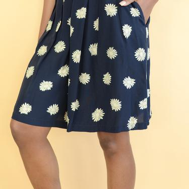 Vintage Navy Blue Floral Print High Rise Shorts by MAWSUPPLY