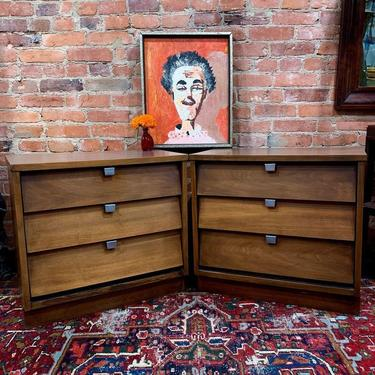 Midcentury modern bedside tables / night stands with 3 drawers